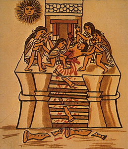 Human sacrifice to honour the sun, Aztec codex, 16th century. The Granger Collection, New York (40K)