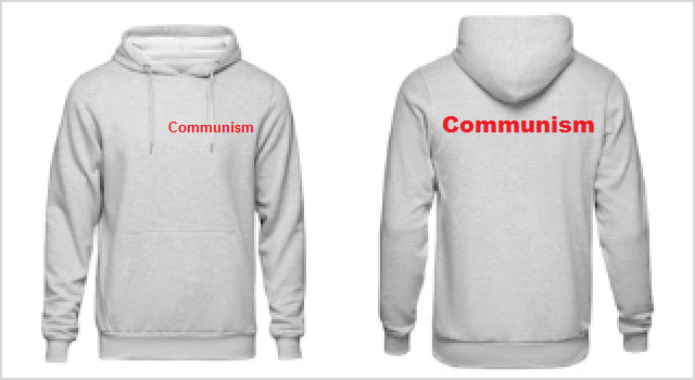 Communism on the front and back sides of a hoodie