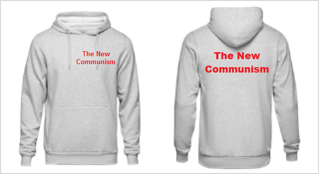 The New Communism logo on the front and back of a hoodie