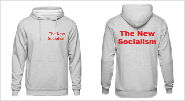 The New Socialism logo on the front and back of a hoodie