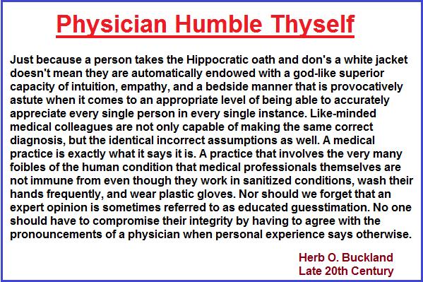 Physician Humble Thyself