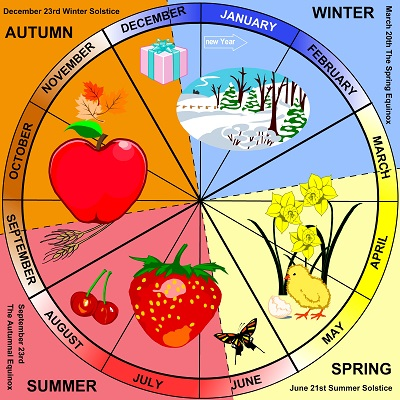 The seasons portrayed in a circle
