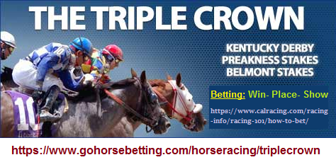 Triple crown of horse racing with its three types of betting