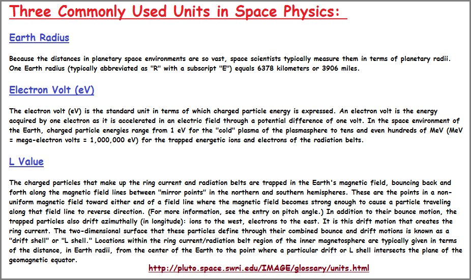 3 commonly used units used in space physics