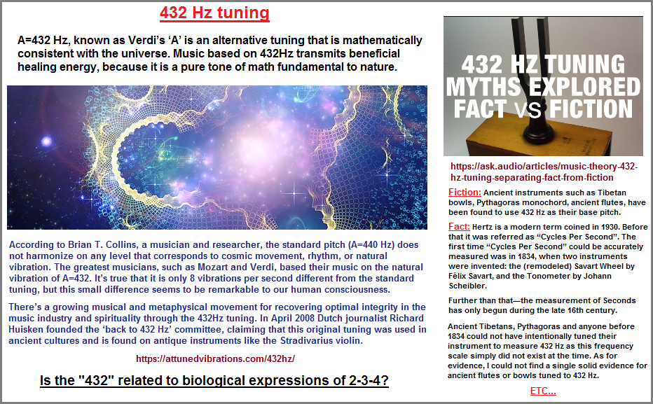 The 432HZ as a metaphor for the biological 2-3-4?