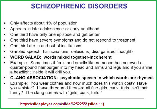 1, 2, 3 patterns in a description of schizophrenia