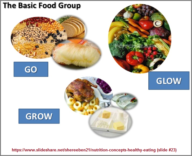 3 food groups nutrition concept