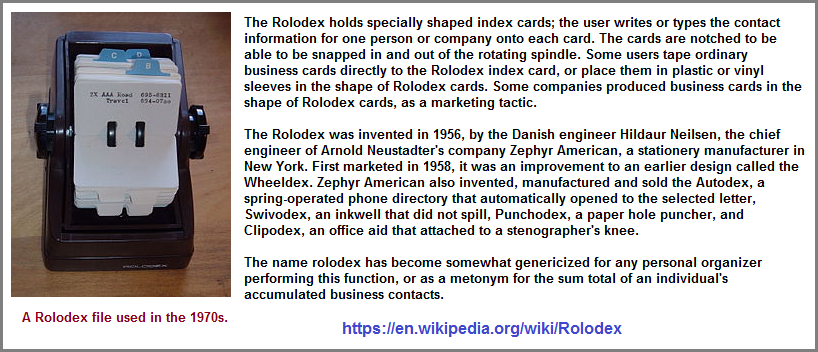 Information on the old rolodex wheel