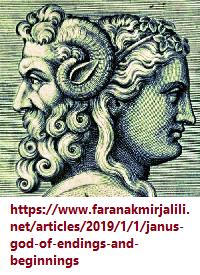 Janus-faced figure representing begniings and endings