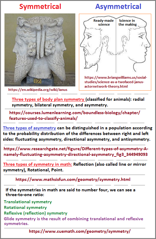 Janus faced symmetry and asymmetry