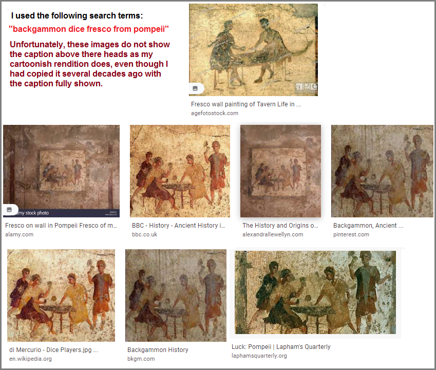 Series of images of a Pompeii frescoe illustrating dicers