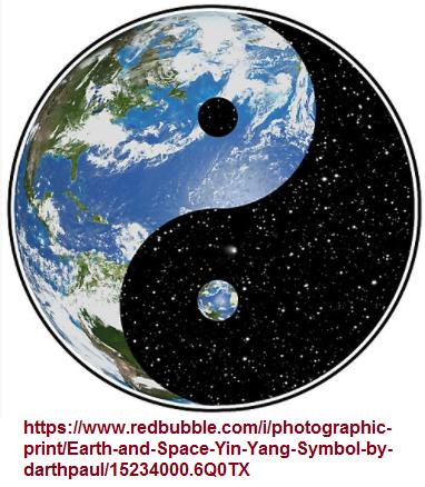 Yin, Yang and Earth symbol as a hybrid