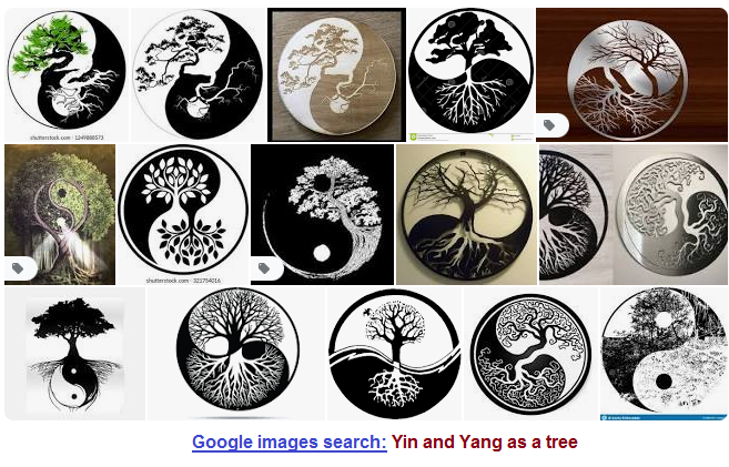 Several images of Yin and Yang as a tree