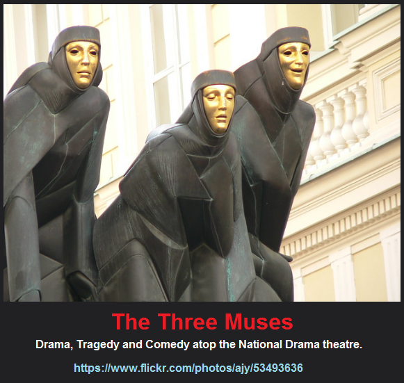 3 muses of Drama, Tragedy and Comedy