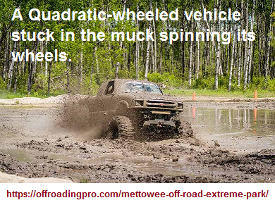 A quadratic vehicle stuck in the mud spinning its wheels