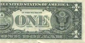 Back of dollar bill folded once