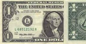 Front of dollar bill with one fold