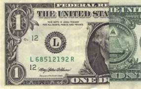 Front of dollar bill with a second fold