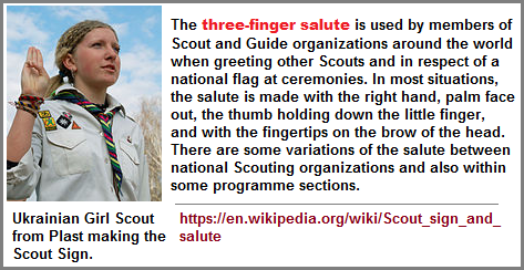3-fingered salute of scouts the world over