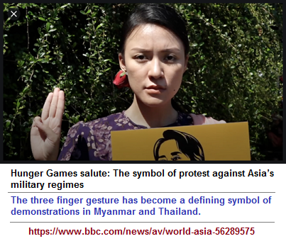 Three-fingered protest of Myanmar and Thailand