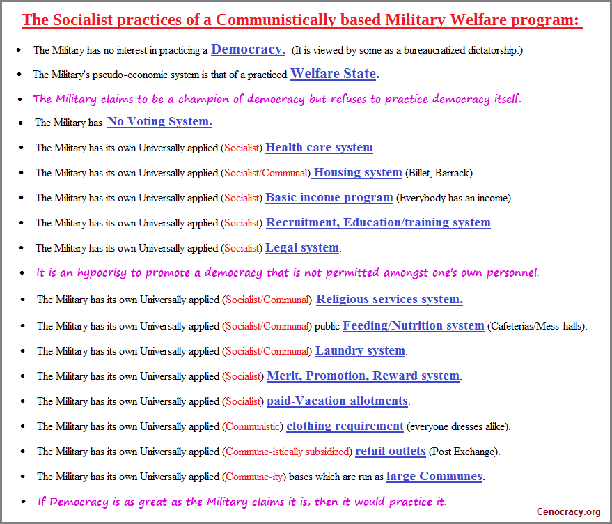 The US Military claims to be protecting Democracy while practicing Socialism and Communism