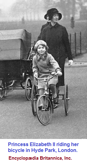Elizabeth the II and her tricycle