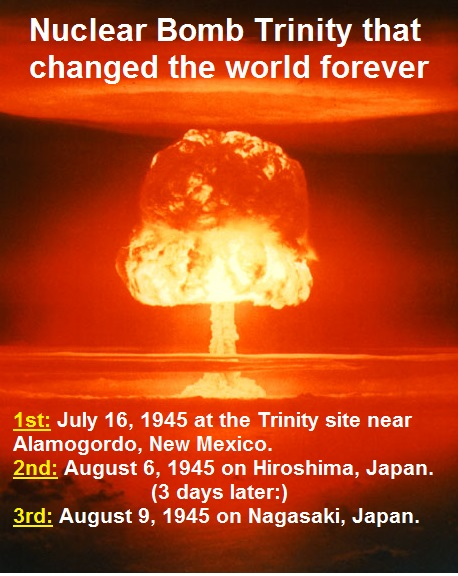 Trinity of Nuclear bombs that changed the world
