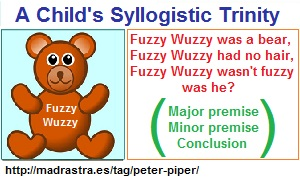 A syllogiist Trinity in a child's tongue twister