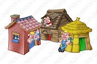 Three little pigs in straw, wood, stone houses