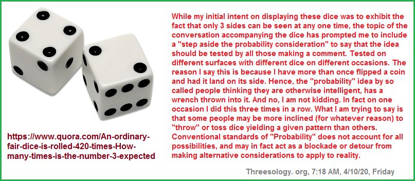 Three sides of a die can be seen