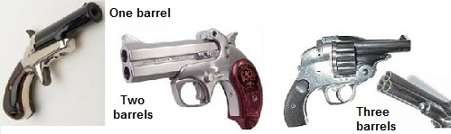 1, 2, and 3-shot Derringer examples
