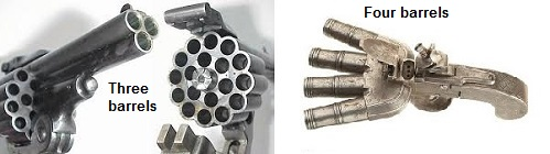 3 and 4-barrel weapons