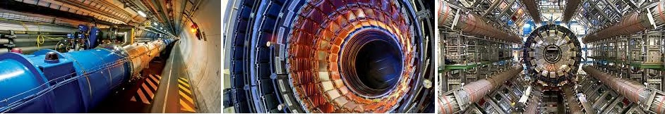 3 images of hadron collider tube