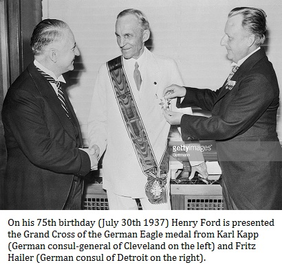 Ford receiving German Medal for assisting the Nazis